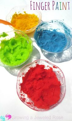 Easy to make finger paint that is safe for even the tiniest tots = potato flakes, warm water, food colouring!