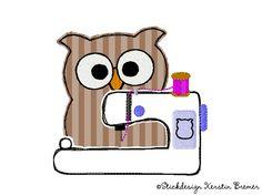 Eule Ursula mit Stickmaschine ♥ Eulen doodle Stickdatei. Owl with embroidery machine. So cool! Doodle appliqué embroidery design for embroidery machines.   #sticken #eulenliebe #owllove #embroiderydesign