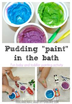 """Pudding """"paint"""" in the bath tub: Fun Sensory Paint Activity - FSPDT"""
