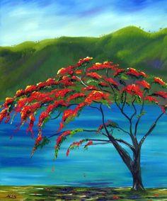 I love Poinciana trees - so obviously I need a painting of one.