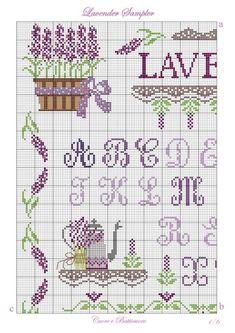 à broder : Lavender Sampler - Marina-Melnik - ABC - grille Cross Stitch Cards, Cross Stitch Rose, Cross Stitch Alphabet, Cross Stitch Samplers, Cross Stitch Flowers, Cat Cross Stitches, Cross Stitching, Cross Stitch Patterns, Blackwork Embroidery
