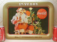 Coca Cola, Coke Serving Tray, Advertisment for Big Bear Super Market, Santa Tray. $17.00, via Etsy.
