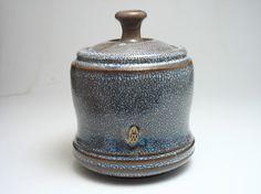 lidded jar with crawly glaze by @Zygote Blum