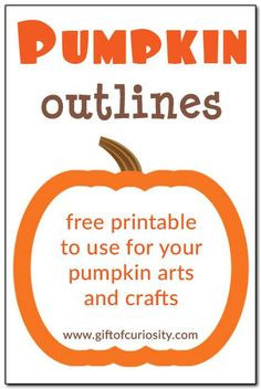Free printable pumpkin outlines in three sizes to use for all your pumpkin arts and crafts. Free printable pumpkin outlines in three sizes to use for all your pumpkin arts and crafts. Halloween Activities, Autumn Activities, Toddler Activities, Preschool Halloween, Kindergarten Activities, Toddler Crafts, Pumpkin Printable, Pumpkin Templates Free Printable, Halloween Printable