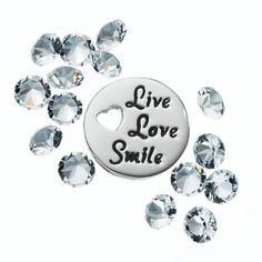 """Blue La Rue Crystal Silver-Plated """"Live Love Smile"""" Charm Set - Made with Swarovski Crystals, Women's, White"""