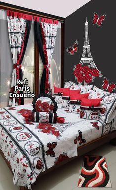 Ref: Paris Ensueño 🌂 Disponible en cortinas, cojines, juegos de baño y sábanas en todas las medidas. #Paris #Dalotex #Lenceria #Hogar #Sabanas #moda #colors #Red #SabanasDalotex #Rosa #vintage #Black #Amour #Chic #Ohlala Garden Bedroom, Dream Bedroom, Decorative Cushions, Bed Spreads, Ideas Para, Comforters, Decoration, Gift Wrapping, Pillows
