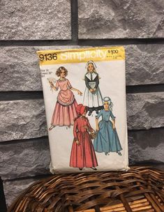 Excited to share this item from my #etsy shop: Girls Puritan, Centennial, 18th 19th Century Colonial dresses costume pattern, size 14 Simplicity 9136 vintage 1970 theatrical, Halloween #costumepatterns #sewingpatterns