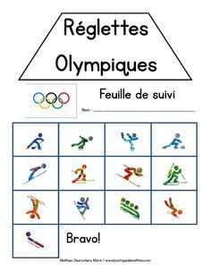 Jeu de réglettes des sports olympiques d'hiver French Resources, Primary Resources, Teaching Resources, Weightlifting For Beginners, Olympic Weightlifting, Bobsleigh, Kids Olympics, Summer Olympics, Core French
