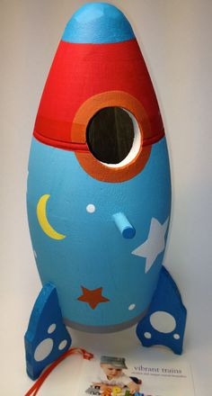 Painted Rocket Ship Birdhouse. CUSTOM Painted Space Ship