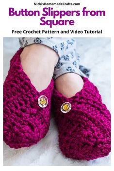 Learn how to make crochet slippers from a square easily with this free pattern. You can use any stitch or yarn for any shoe size you like. It has 2 buttons and is super easy to crochet. It's the perfect weekend project. #crochet #crochet #pattern #crochetpattern #diy #crochetslipper #slipper #slippers #slipperpattern #booties #shoes #freecrochetpattern #freepattern #bulky #yarn #fall #winter #spring #summer #diyprojects #diyideas #stylish #crochetstitch #tutorial #giftideas