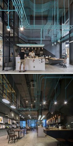 10 Unique Coffee Shop Designs In Asia | Supermachine Studio and developer Sansiri designed this office coffee shop that highlights the electrical conduit system by painting it a bright turquoise to give it a fun, industrial look.