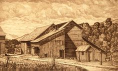 "Luigi Lucioni (1900-1988), ""Weathered Barns"" - Vero Beach Museum of Art ~ Vero Beach, Florida, USA"