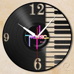 Vinyl wall clock- Piano