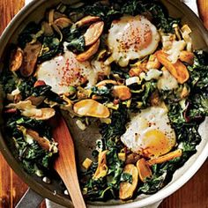 Healthy Vegetarian Recipes: Fingerling Potato-Leek Hash with Swiss Chard and Eggs | CookingLight.com