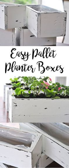 Spring is just around the corner, and what better way to display your florals and greens than with a custom planter box? These planters are made from pallets and super easy to assemble. Paint or stain to your liking, and voila! #planter #diy #tutorial #distressed #rustic #farmhouse #plant #spring #easyplanters #diyplanters #homedecor #gardening