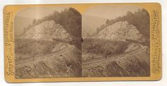 PRR Pennsylvania Railroad Train, Engine Horseshoe Curve ALTOONA PA Stereoview 1