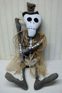 Primitive Grungy Halloween Skeleton Doll & His Crow #NaivePrimitive