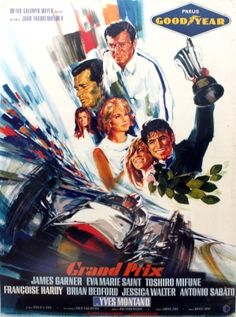 Grand Prix Car Racing, 1967 - original vintage Formula One movie poster by Michel Landi for the 1966 film Grand Prix starring James Garner (as Pete Aron), Eva Marie Saint, Yves Montand (as Jean-Pierre Sarti), Toshiro Mifune, Brian Bedford (as Scott Stoddard), Antonio Sabato (as Nino Barlini), Francoise Hardy and Jessica Walter with cameo appearances by world racing champions including Graham Hill and Dan Gurney, listed on AntikBar.co.uk