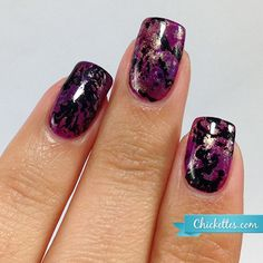 Chickettes.com - Purple Turquoise Gel Nail Art Inspired by Nails by Miriam Elizabeth