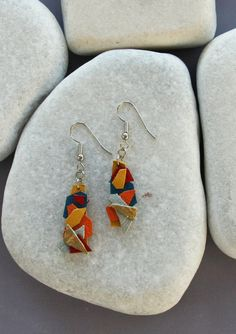Colorful and Funny Earrings. Leather and Silver от ZvuvA на Etsy