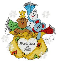 Presents from the North Pole 2 machine embroidery design. Machine embroidery design. www.embroideres.com #toy #bag #Christmas #winter #scarf #mouse #snow #snowman #deer #present #beige #snowflake #NorthPole #embroidery #embroideres