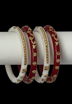 White and Red Golden Embedded Shakha and Pola