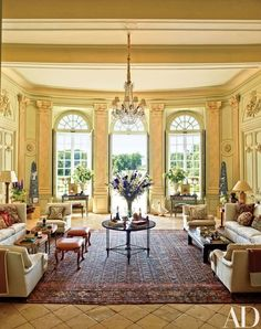 The Grand Salon overlooks the château's gardens, which were restored by the French government and are open to the public six times a year | archdigest.com