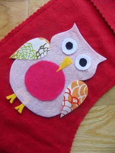 owl pattern for felt stocking