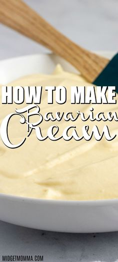 How to Make Bavarian Cream ) ) Bavarian Cream Recipe – How to make Bavarian Cream for cake and donuts filling. Super easy to make and tastes delicious! Cake Filling Recipes, Frosting Recipes, Cake Recipes, Dessert Recipes, Dessert Sauces, Bavarian Cream Filling, Custard Filled Donut Recipe, Cream For Cake, Vanilla