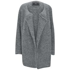 By Malene Birger Women's Knit Cardigan - Grey (€92) ❤ liked on Polyvore featuring tops, cardigans, outerwear, coats, jackets, sweaters, grey, drapey cardigan, three quarter sleeve cardigan and oversized grey cardigan