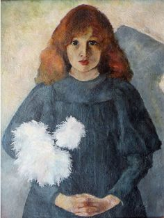 Olga Boznańska: Girl with with chrysanthemums