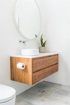 Cessnock, Floating timber vanity - enough. Floating Bathroom Vanities, Bathroom Sink Vanity, Bathroom Sets, Master Bathrooms, Small Bathrooms, Shiplap Bathroom, Country Bathrooms, Floating Vanity, Round Mirror In Bathroom