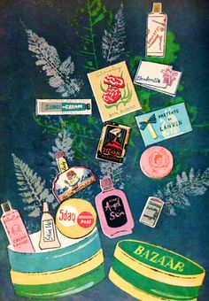 """Harpers Bazaar """"Beauty Boutique"""", Illustration by Andy Warhol 1957"""