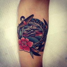 Colorful ship tattoo by Kirk Jones Rose Tattoos, All Tattoos, Body Art Tattoos, Tattoo Drawings, I Tattoo, Tatoos, Traditional Nautical Tattoo, Traditional Style Tattoo, Traditional Ink