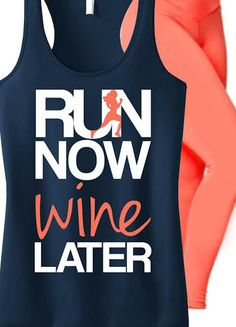 #Run and #Workout in style! Featuring a RUN NOW WINE LATER Tank. By NoBullWomanApparel, only $24.99 on Etsy. Click here to buy https://www.etsy.com/listing/183822507/run-now-wine-later-tank-top-navy-with?ref=shop_home_active_17