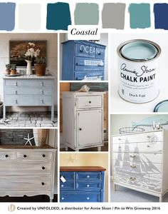 Coastal Style Moodboard | Left top: Duck Egg Blue Chalk Paint® by Annie Sloan, Left bottom: Country Grey, French Linen + Old White Chalk Paint® by The Little Red Door, Center top: Aubusson Blue Chalk Paint® by Lindsey Vogel Design, Center middle: Pure White Chalk Paint® by Orphans with Makeup, Center bottom: Napoleonic Blue + Old White Chalk Paint® by Leisure Living, Right top: Duck Egg Blue Chalk Paint® by Annie Sloan, Right bottom: Old Ochre + Coco Chalk Paint® by Canary Street Crafts