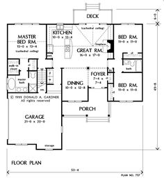 1473 sq. feet. I don't like the washer dryer next to the dining room, but that could become a mudroom/panty, and put washer dryer into garage. Tanglewood House Plan