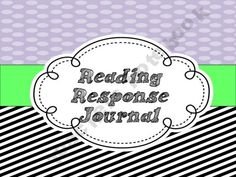 Reader's Response Journal Set  Leading-and-Reading Shop - | Teachers Notebook