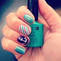 Christy C's nails @sasssycc @aprilsnailz | CND Shellac layering Hotski To Tchotchke & Grapefruit Sparkle + Grape Gum + anchor + stripes. awesome nails turquoise nautical nail art. Gel Nail designs. shellac nails. **Leave the credits and details as these are someone's nails!**