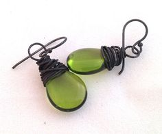 Wire wrapped earrings  Olive Oil and by ChickpeaDesignStudio, $20.00