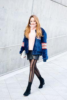 #IamAsuperfan - 2016 S/S 서울패션위크 스트릿 스냅 #2 Seoul Fashion Week 코디 MLB 계한희 콜라보레이션 야구점퍼 엠엘비 맨투맨 스타디움자켓 : 네이버 블로그