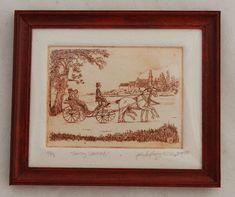 Vtg Dollhouse Miniature John Anthony Miller Art Horse Buggy  Copper Etching #ReminiscenceInc