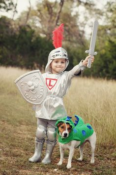 DIY Kids Knight Costume and Dragon Dog Costume