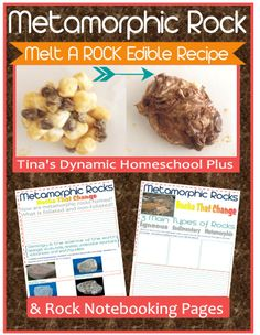 Metamorphic Rock - Yum! Earth science and edible. Melt a rock edible recipe and Free Notebooking Pages  #rocks #ediblecrafts #ihsnet