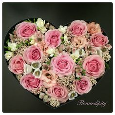 For the LOVE of his life #flowers #heart #pink #ohara #roses #white #freesia