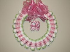 Large baby Girl Diaper Wreath by blissfulbunchesbyb2 on Etsy, $45.00