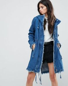Missguided Blue Denim Hooded Raw Edge Parka