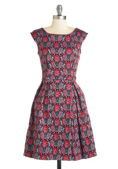Emphatically Fabulous Dress. Your friends wholeheartedly agree that your style is the definition of magnificent - just look at this embroidered floral frock! #red #modcloth