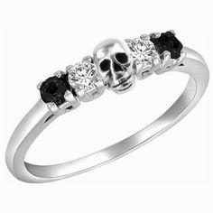 .Black Diamond Skull Ring