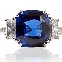 Blue Sapphire and Diamond Trapezoid Ring